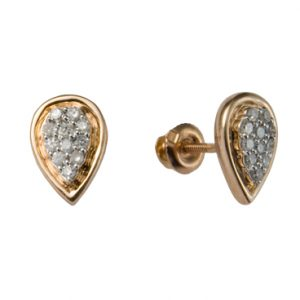 Cool Diamonds Cer Teardrop 14k Gold Studs Earrings